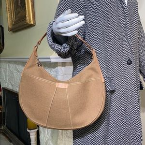 NWOT Longchamp Leather & Canvas Saddle Bag